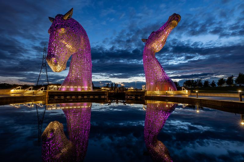 The Kelpies in purple