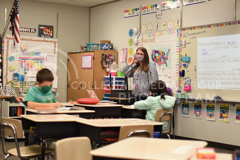 In the front of the Classroom, senior Kelsie Conard student teaches at Bergman Elementary School here in Manhattan, Kansas. Wednesday, November 12, 2020. ( Collegian Media Group)