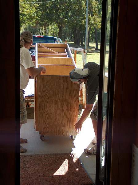 The front desk & other cabinets arrived