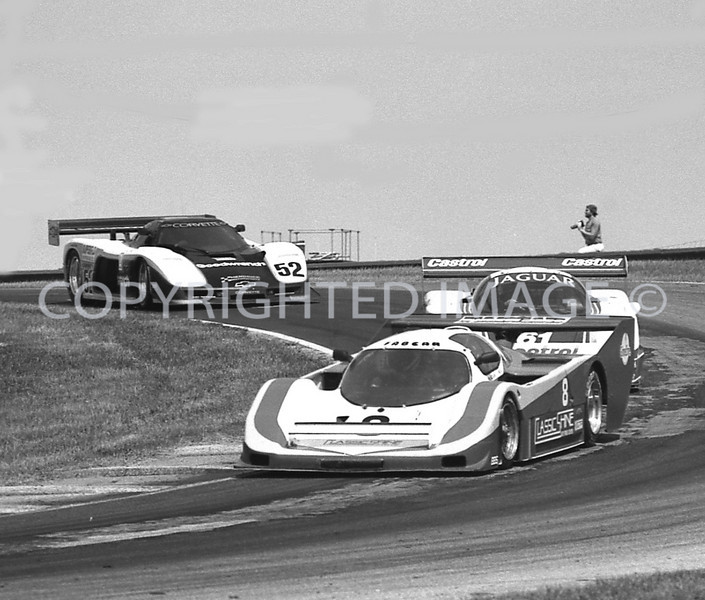 Mid Ohio, #8 Chip Mead Leads A Jag #61 And A Corvette #52, 1988