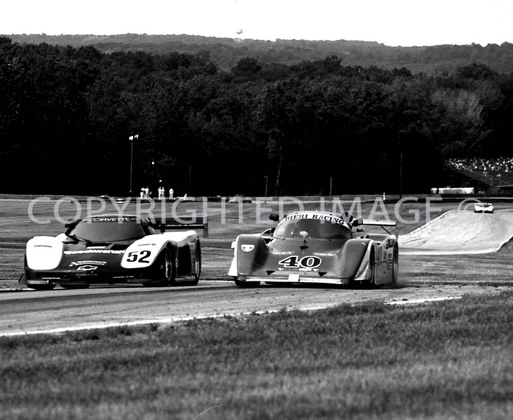Mid Ohio, #52 Wally Dalenbach Jr Dives Under #40 Guido Dacco, 1988