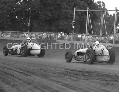 Hurtubise Follows Branson Into turn One, 1960