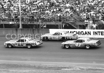 Michigan Int, #88 Waltrip, #2 Earnhardt, #43 Petty, NASCAR, 1979