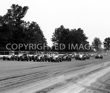 DuQuoin, Parade Lap cars abreast, 1970