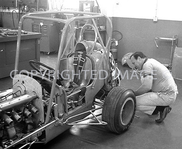 Houston, Foyts Shop, A J gets Midget ready for Astrodome, 1970