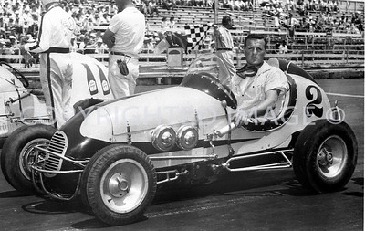 16th Street Speedway, A J Foyt in father's midget, Chini Collection, 1956