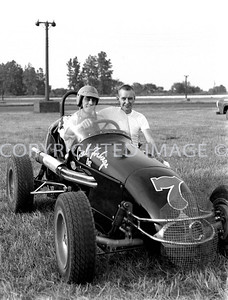 Mt. Clements, John White with legendary driver owner Carl Forberg, 1959