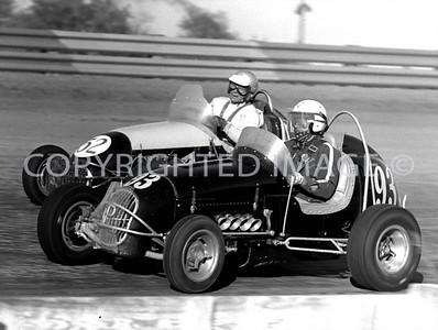 Terre Haute, 93 Bob Tattersall and 52 Jud Larson battle a corner, 1964