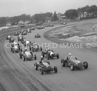 Detroit Fairgrounds, Start of Sprint car race, AARC, 1958