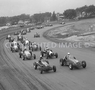 Detroit Fairgrounds, Start of Sprint car race, AARC, 1958