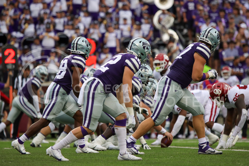 KState Offence gears up for a first down play against OU on October 2nd (Kendall Spencer   Collegian Media Group).