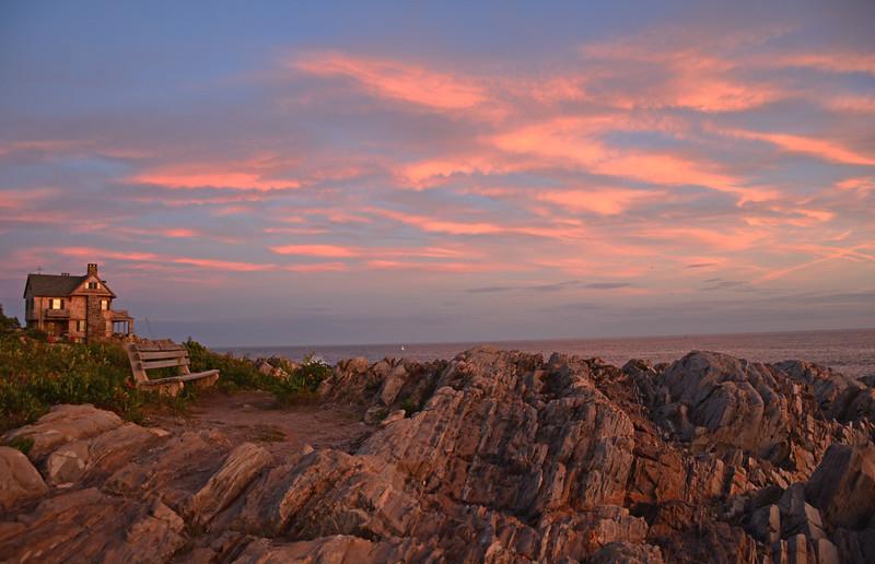Ocean Avenue sunset, The Stone House