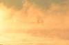 Goat Island Light in sea smoke