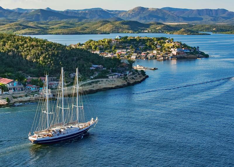 Sailing into Santiago Bay