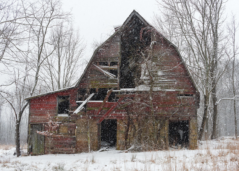 Old Barn on a Snowy Day