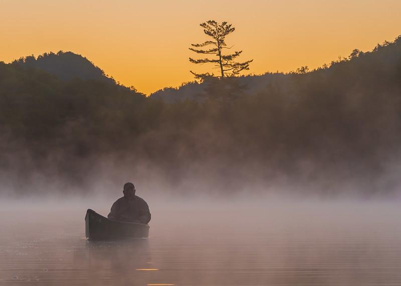 Canoe in Morning Mist
