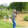 Hodgeman Lane 2004 flood.  Ted Voneida in pic.