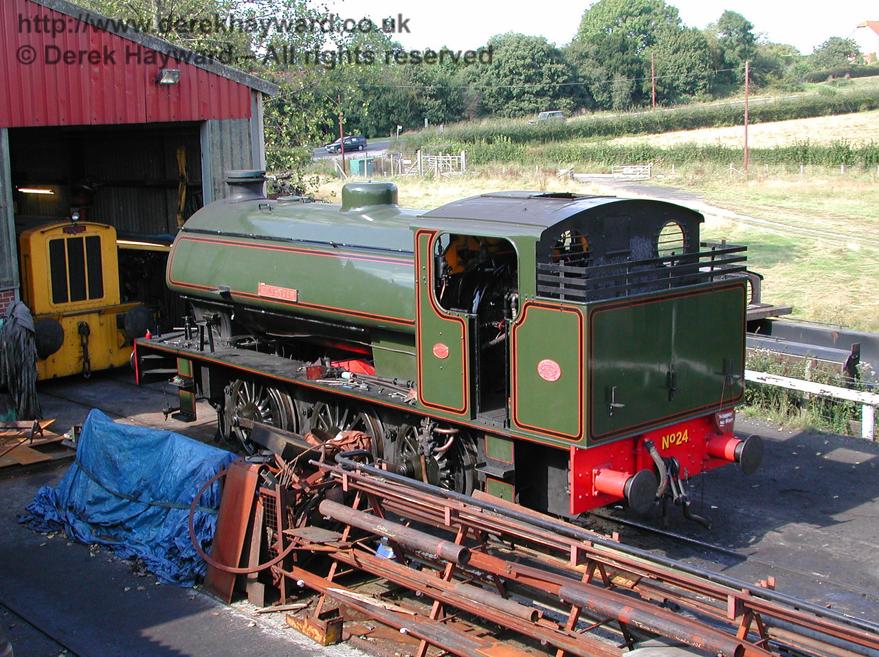 No24 Rolvenden stands outside the engine shed at Rolvenden Station. 30.08.2000
