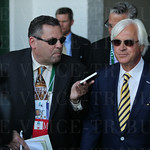 Bob Baffert was interviewed as he came out of the tunnel and walked to the winner\'s circle.