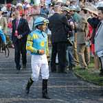 Derby-Winning jockey Victor Espinoza in the paddock just before the big race.