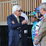 Bob Baffert and h`is jockeys in the paddock.