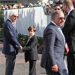 Bob Baffert and his son prepare to walk out to the track.