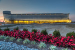 The exterior of the Ark at dusk at The Ark Encounter, Williamstown, Kentucky, USA.