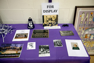 during Friday night's FanFest of the Kentucky Wesleyan College Basketball 100th Anniversary celebration.