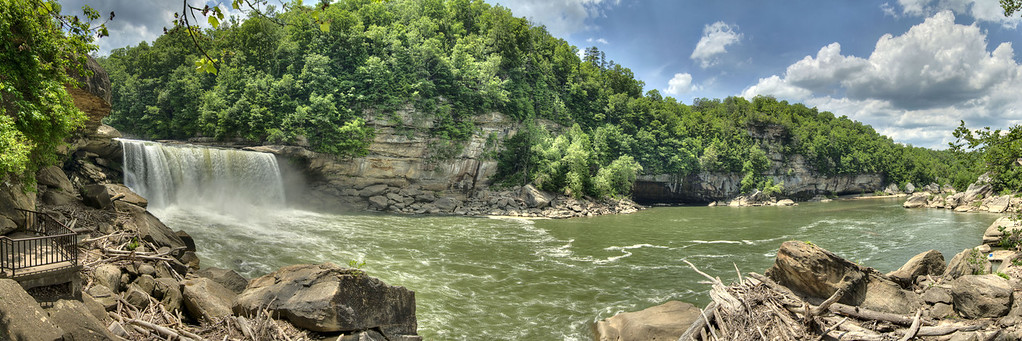 The Lower Overlook, Cumberland Falls, and Cumberland River at Cumberland Falls State Resort Park in Corbin, KY on Tuesday, May 28, 2013. Copyright 2013 Jason Barnette