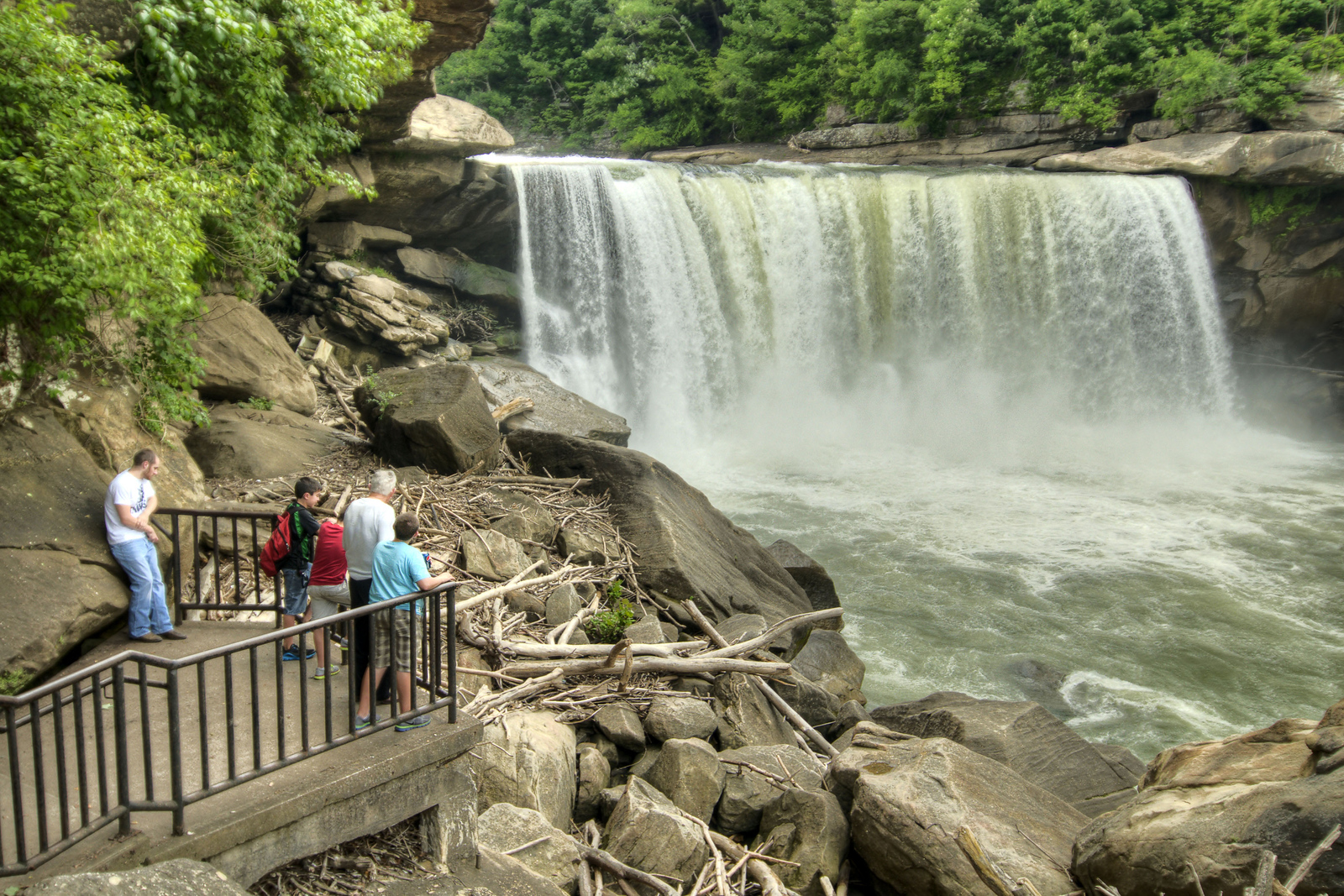 People admire the falls from the Lower Overlook at Cumberland Falls State Resort Park in Corbin, KY on Tuesday, May 28, 2013. Copyright 2013 Jason Barnette