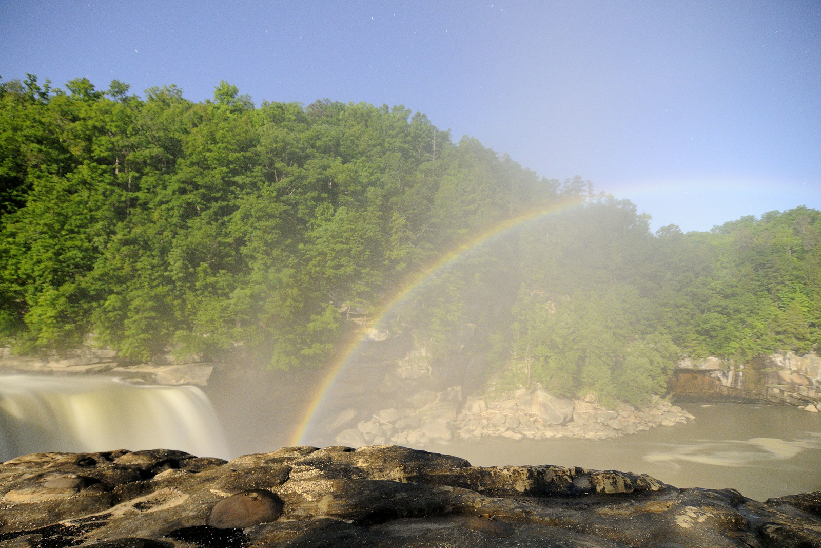 The Moonbow, a natural occurrence when the light from a full moon causes a rainbow to appear at night in the mist of the waterfall, at Cumberland Falls State Resort Park in Corbin, KY on Friday, May 24, 2013. Copyright 2013 Jason Barnette