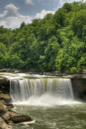 The raging Cumberland Falls from an overlook along the Moonbow Trail at Cumberland Falls State Resort Park in Corbin, KY on Tuesday, May 28, 2013. Copyright 2013 Jason Barnette