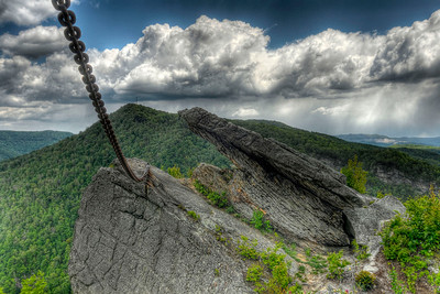 Chained Rock, a massive boulder that was chained to the mountainside in 1932, in Pine Mountain State Resort Park in Pineville, KY on Tuesday, April 24, 2012. Copyright 2012 Jason Barnette
