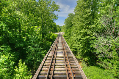 View across a long bridge on the Big South Fork Scenic Railway, a 14-mile scenic trip along the old Stearns Coal & Lumber Company railroad tracks to the Blue Heron Mining Camp, in Stearns, KY on Monday, May 27, 2013. Copyright 2013 Jason Barnette