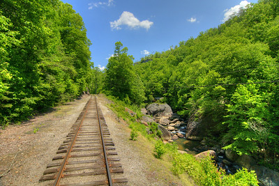 View along the tracks on the Big South Fork Scenic Railway, a 14-mile scenic trip along the old Stearns Coal & Lumber Company railroad tracks to the Blue Heron Mining Camp, in Stearns, KY on Monday, May 27, 2013. Copyright 2013 Jason Barnette