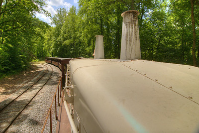View from the locomotive on the Big South Fork Scenic Railway, a 14-mile scenic trip along the old Stearns Coal & Lumber Company railroad tracks to the Blue Heron Mining Camp, in Stearns, KY on Monday, May 27, 2013. Copyright 2013 Jason Barnette