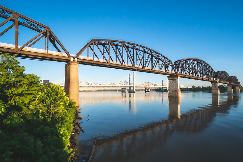 Waterfront Park and the Big Four Bridge in Louisville Kentucky