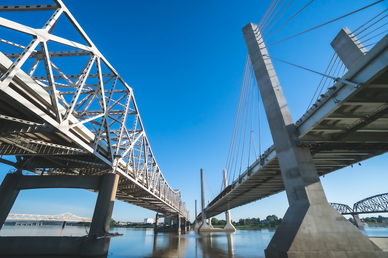 Lincoln and Kennedy Bridges in Louisville Kentucky
