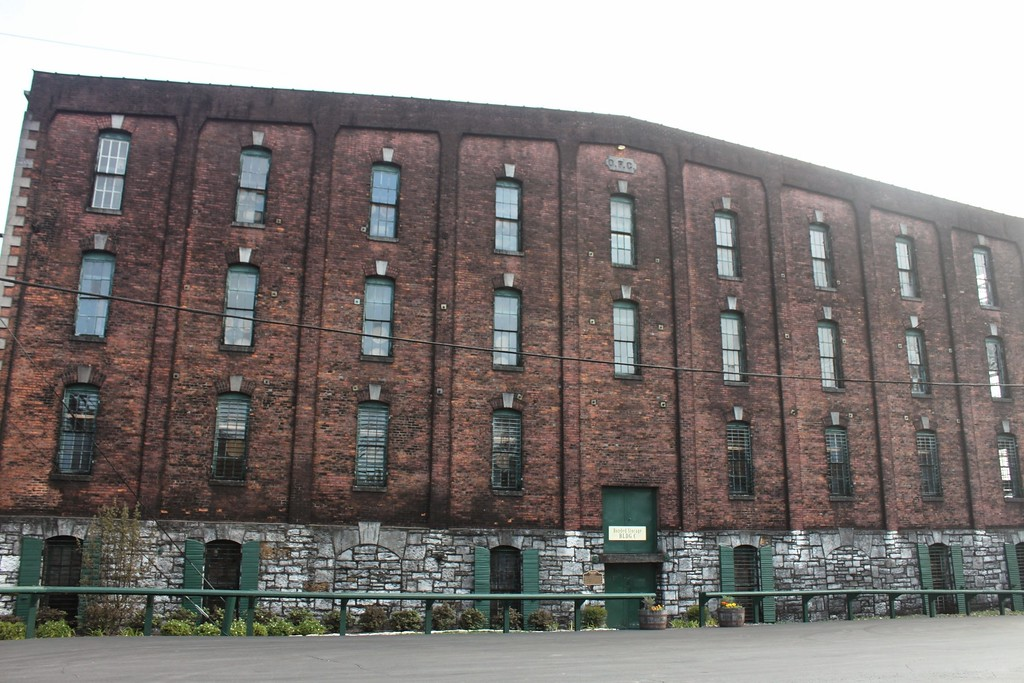 An imposing brick building serves as Buffalo Trace Distillery's stillhouse