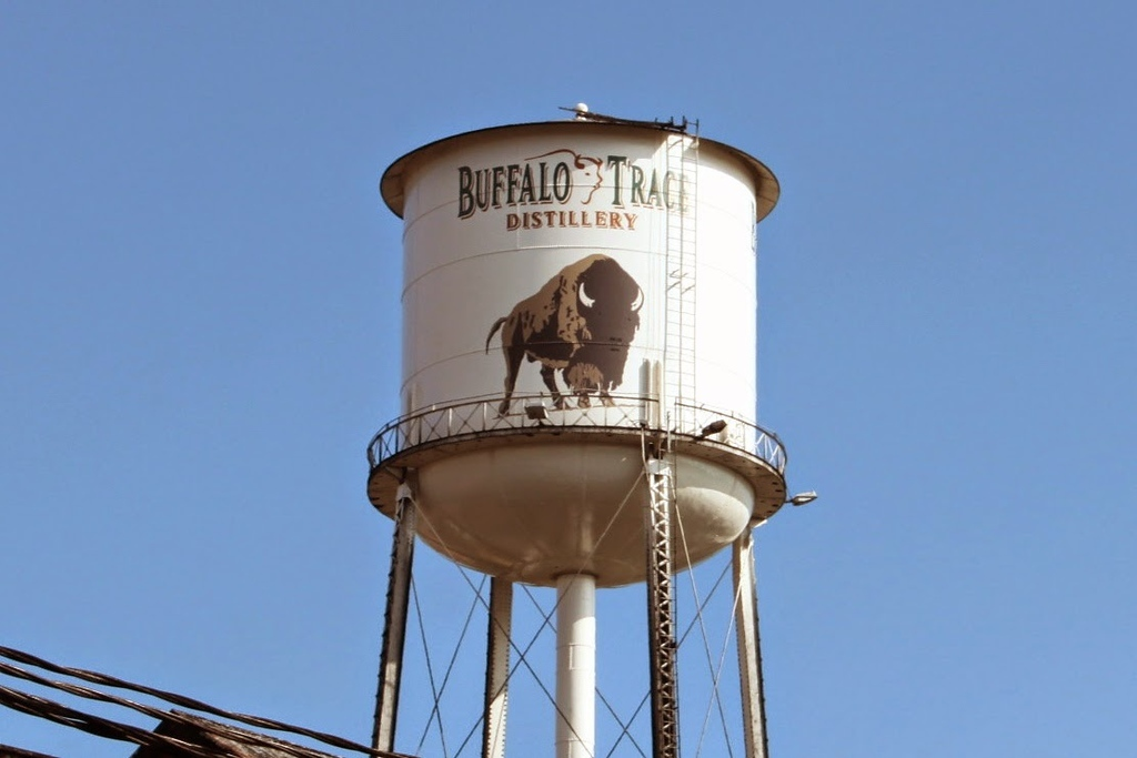 A white water tower features the Buffalo Trace logo