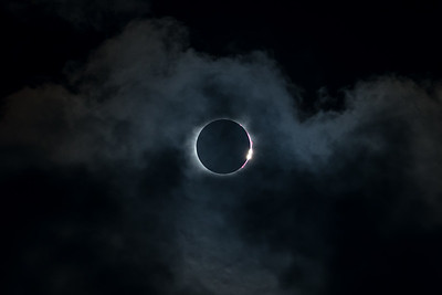 Dimond Ring Eclipse with Clouds