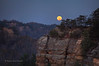 Supermoon Setting At Chimney Rock