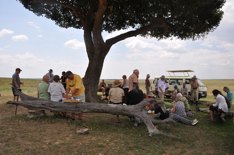 Our picnic lunch across the Mara River in Tanzania.