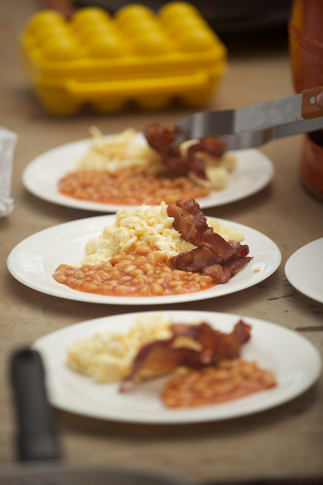 Bacon, eggs and beans