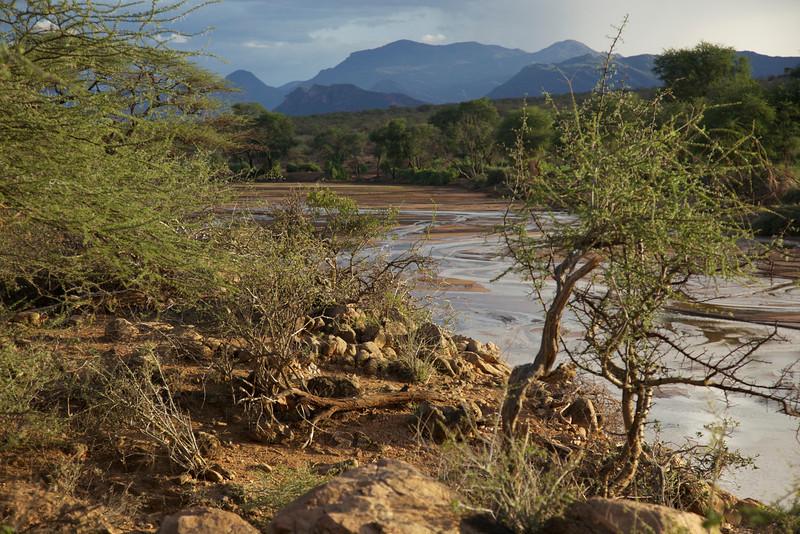 Ewaso Nyiro river.  It was full after a good nights rain.