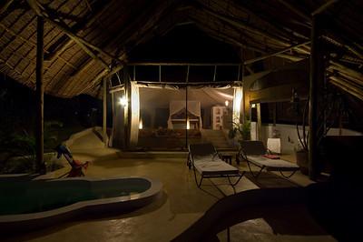Our open-air room at Sasaab at night