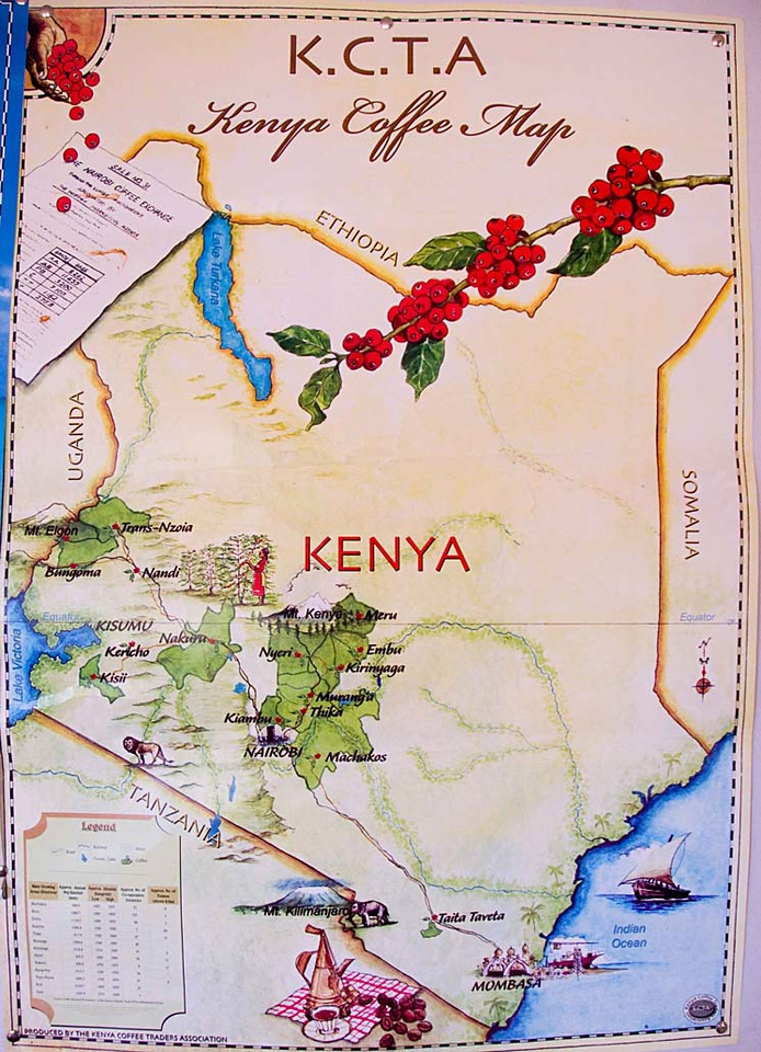 The heart of Kenya coffee production and quality is concentrated in south-central Kenya, between Mt. Kenya and the capital, Nairobi.  The equator passes right over the Mt. Kenya area. See the detail, next shot....