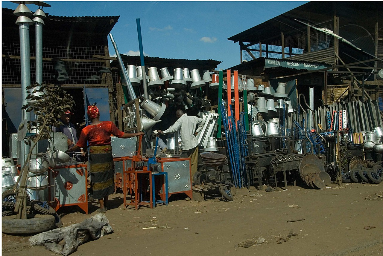 Metalware market on the road out of Nairobi.