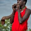 Blowing an eland horn