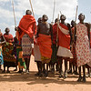 The Samburu men jump high during a demonstration of their traditional dance.  By Debbie Thompson on August 20, 2008.